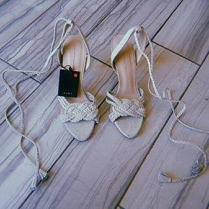 Zara chalk/off white suede braided high sandals